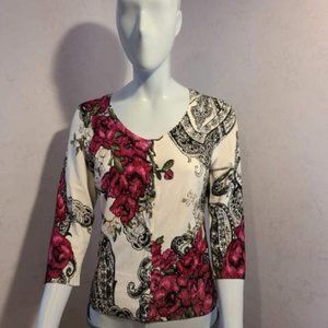 White House Black Market Floral Crystal Cardigan